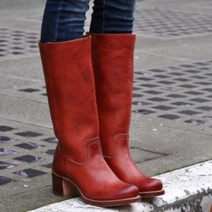 Frye Sabrina Red Tall Leather Pull on heeled boots